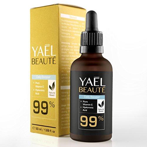YAEL BEAUTÉ: Daily Booster - 99% natürliches Vitamin C Serum mit Hyaluronsäure für die tägliche Anwendung - Feuchtigkeit, Schutz und Frische fürs Gesicht - mit Anti-Aging Effekt - geruchsneutral & vegan (1x50ml)