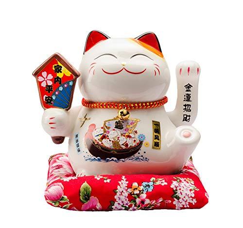 Maneki Neko Winkekatze Glückskatze Glücksbringer Winkende Katze aus Porzellan,Weiß L16*W14*H16cm, A