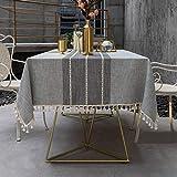 Pahajim Einfache Moderne Streifen Tischdecke Quaste Tischdecke,Baumwolle Leinen Elegante Tischdecke waschbare Küchentischabdeckung für Speisetisch (Grau Streifen,Rechteckig/Oval,140x180cm)