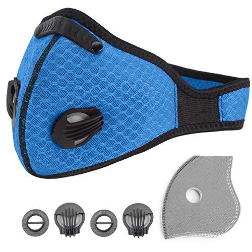 Staubschutzmasken, Staubmaske Atemschutzmaske mit Extra-Filtern Baumwollplane und Ventile, Halbe Gesichtsmaske mit PM2.5, wiederverwendbar für Abgas,Sport,Laufen,Radfahren,Outdoor. (Blau)
