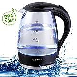 Aigostar Adam 30GOM - Glas Wasserkocher mit LED-Beleuchtung, 2200 Watt, 1,7 Liter, Trockenlaufschutz, BPA frei, schwarz. Exklusives Design