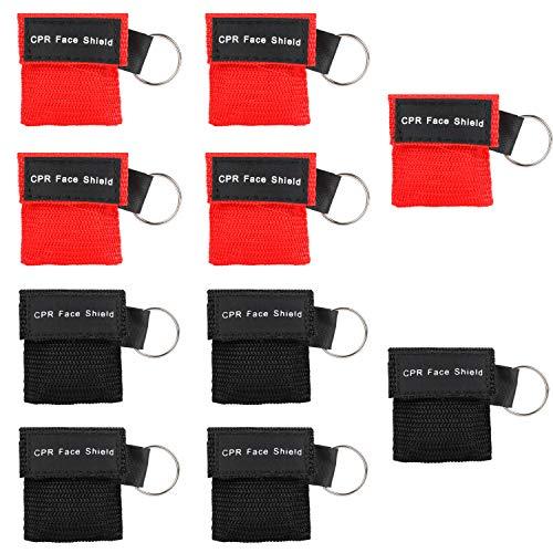 Denavo Beatmungsmaske, CPR Maske Schlüsselanhänger 10 Stücke RESPI-Key mit Rückschlagventil Atmen Barriere - 5 Schwarz + 5 Rot