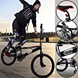 Jago frbmx01 BMX Bike Bicycle with 360 ° Black Frame, 4 Stunt Pegs, Front Rear v-Type Brakes, 20 Wheels and 36 Steel Spikes Per Wheel