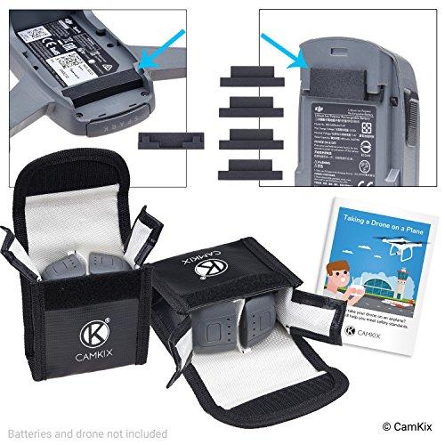 CAMKIX Reisesicherheits-Pack Kompatibel mit DJI Spark - Für 4 Akkus - Beinhaltet: LiPo-Sicherheitstasche, 2X Akku-Deckel, 1x Ladeanschluss-Abdeckung und Reise-Anweisungen - Ideales Schutz-Set\