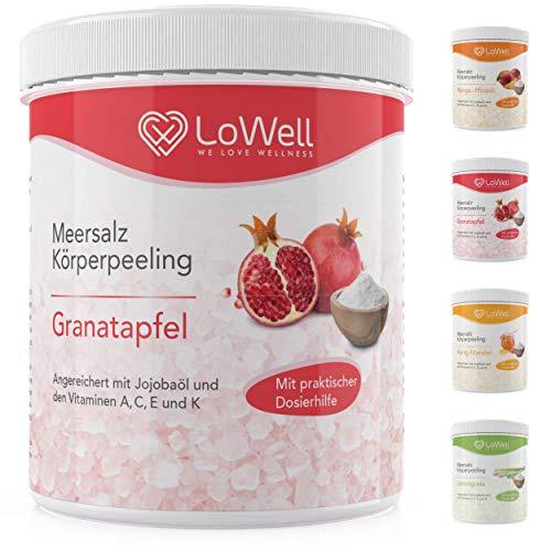 LoWell  - Peeling Meersalz mit Jojobaöl + BONUS Dosierhilfe + Peeling-Guide - Natürliches Körperpeeling Scrub - Ideal für die Dusche, Dampfbad und Sauna - Body Salz - Granatapfel 500g