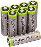 AmazonBasics Vorgeladene Ni-MH AA-Akkus - Akkubatterien, 500Zyklen (typisch 2500mAh, minimal 2400mAh), 8Stck (Äußere Hülle kann von Darstellung abweichen)