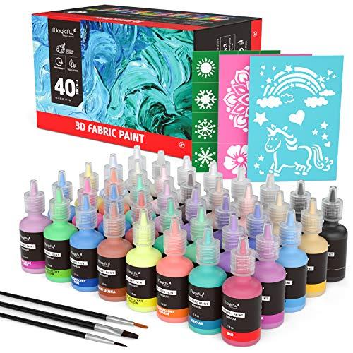Waschfest Stofffarben, Magicfly 40 Farbige 3D Wasserfest Textilfarbe | 30 ml Pro Flasche | im Dunkeln Leuchten | Besonderes Design für Kinder Ideal für Kleidung Glas Holz Textil Stoff Leinwand Keramik