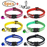 YHmall 6 Stück Nylon Katzenhalsband Reflektierendes + 2 Stück Anhänger mit sicherheitsverschluss und Glocke, Verstellbar 20-30 cm, Coole Halsbänder für Hauskatzen, Kleine Hunde MEHRWEG