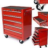 Arebos Werkstattwagen 5 Fächer rot ( zentral abschließbar,  Anti-Rutschbeschichtung,  Räder mit Festellbremse,  Massives Metall)