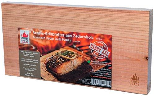Masterpiece 'heavy XXL' - Aroma Grillbretter aus Zedernholz, 15 mm stark, Grillplanke Premium Qualität, Set á 2 Stk, Maße: 195 x 395 mm, BBQ Räucherbretter inkl. Rezepte, extra großes Format