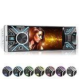 XOMAX XM-V417 Autoradio mit 4.1' / 10 cm Bildschirm I Bluetooth Freisprecheinrichtung | USB, SD, AUX | RDS | Anschlüsse für Rückfahrkamera und Lenkradfernbedienung I 7 Beleuchtungsfarben | 1 DIN