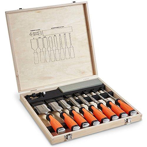 VonHaus 10-teiliges professionelles Meißelset für Holzschnitzerei mit Schleifführung, Schleifstein und Aufbewahrungsschachtel