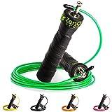 ZenRope - Speed Rope Springseil Sport mit Profi-Kugellager | GRATIS E-BOOK, Extra-Stahlseil, Tasche & Einstiegsguide | Seilspringen für Erwachsene | Crossfit, Boxen, Sport und Training