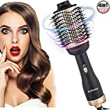 Adkwse Upgrade Überzug Rotierende 4 IN 1 Haartrockner, Multifunktionaler Warmluftbürste, One-Step Warmluftbürste Brush, Heißluftbürste Hair Styler&Volumizer Heißluftkamm Lockenwickler für all Haartype
