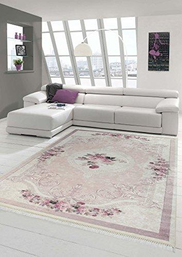 Merinos Teppich Blumen Wohnzimmerteppich Waschbar in Rosa Creme Größe 80 x 300 cm