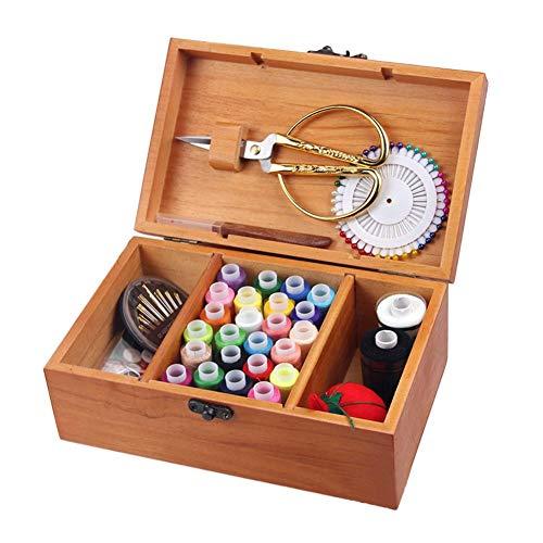 Dream-cool Nähkästchen mit Zubehör, Aufbewahrungsbox aus Holz, Vintage-Holzkiste, Nähset, Heimwerker, Nähzubehör, Haushaltskasten, 20/24 / 39 Farben 24 Colors