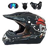 GWJ Adult Off Road Helm Dot Dirt Bike Motocross ATV Helm/Brille/Maske/Handschuhe,Blackskull,XL