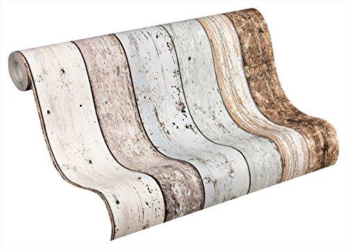 A.S. Création Vliestapete New England 2 Tapete in Holz Optik fotorealistische Holztapete maritime Optik 10,05 m x 0,53 m beige blau braun weiß Made in Germany 855039 8550-39