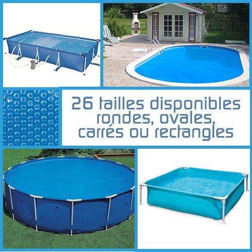 Linxor  Pool Solarfolie Solarabdeckplane Poolheizung, rund, oval, quadrat oder rechteck, 180 μm, für Pools von Intex oder anderen Herstellern / 26 verfügbare Größen / EG-Norm