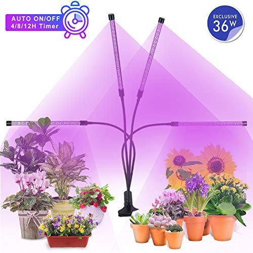 MiMiya Pflanzenlicht 36W 72 LED, Automatik-Timer 4H/8H/12H, 5 Arten von Helligkeit, LED Grow Light, LED VOLLSPEKTRUM Pflanzenlampe -Wachstumslampe für Zimmerpflanzen Gartenarbeit Gewächshaus