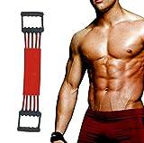 Verstellbarer Chest Expander -Brust Expander - Trainingsgerät für Muskeln - 5 Strings mit Sicherheits-Ummantelung (Red)