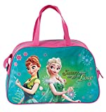 Disney Frozen - Die Eiskönigin Anna und Elsa (DFL), Sporttasche Reisetasche für Mädchen, türkis/rosa, 40 x 25 x 13 cm