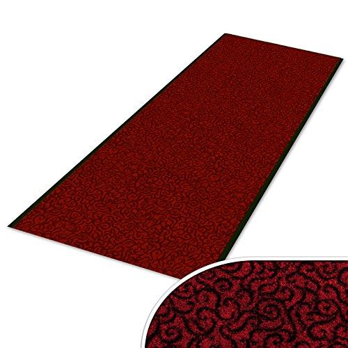 Schmutzfangläufer mit Schnörkelmuster | viele Längen | Qualitätsprodukt aus Deutschland | als Flurläufer, Küchenläufer, Teppichläufer etc. | Läufer in Rot (90 x 200 cm)