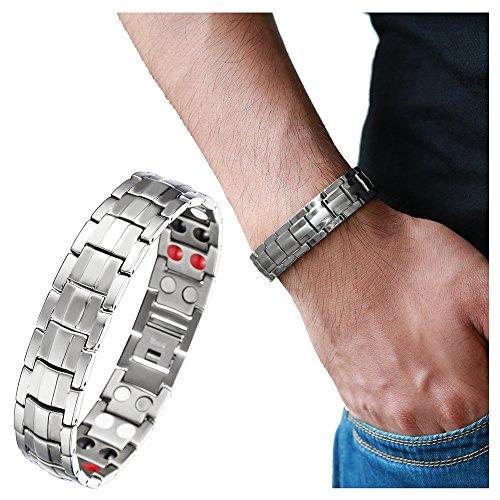 COOLSTEELANDBEYOND Raffinierten Stil Herren Titan Therapy Armband mit Magneten Germanium, Link-Tool zum Entfernen Enthalten