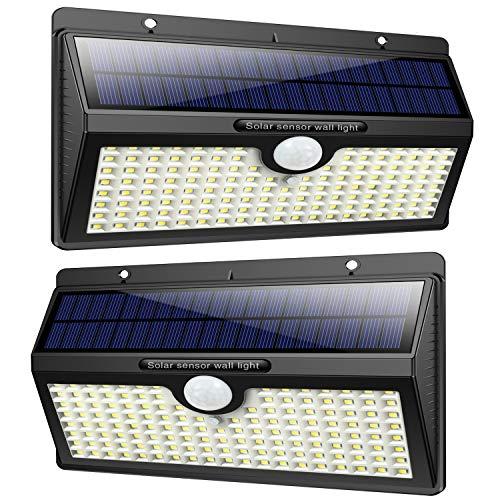 Solarlampen für außen, Feob【2500 mAh Extra Lange Arbeitszeiten】138 LED Superhelle Solarleuchten Außen Bewegungsmelder【270°Solar Beleuchtung】Sicherheitswandleuchte Wasserdichte 3 Modi für Garten