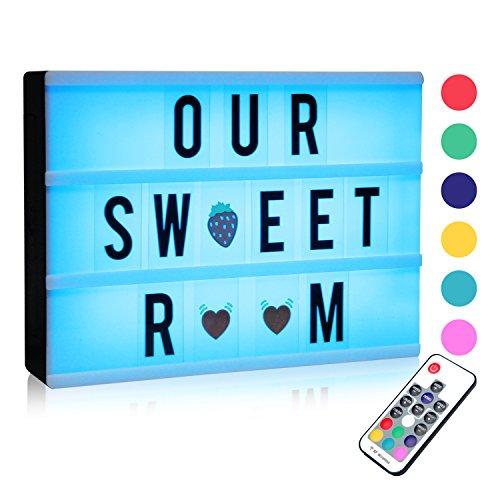 Leuchtkasten, Farbwechsel Lichtkasten A4 LED Lichtbox mit 120 Buchstaben, Symbolen, Emojis und einem Remote- und USB-Stromkabel( 7 Farben)