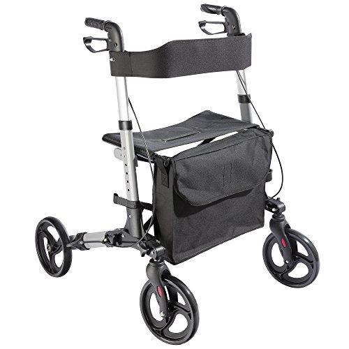 Alu Rollator klappbar, Leichtgewichtsrollator Laufhilfe Gehhilfe Gehwagen mit Einkaufstasche