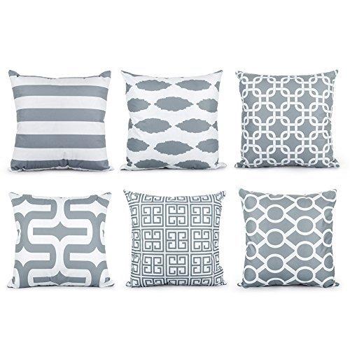 Top Finel 6er Set Weiche Kissen Kissenbezüge Bedrucken Platz Dekorative Kissenhülle in verschiedene Muster 45x45 cm, Grau Serie