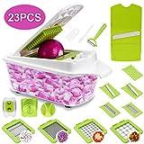 Sedhoom 23 in 1 Gemüseschneider, Zwiebel Zerkleiner, Edelstahl Kingen, Obst und Gemüseschneider Zwiebelschneider, Käse Cutter, Ideal zum Hobeln von Obst und Gemüse (MEHRWEG)