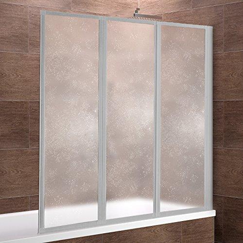 Schulte Duschwand Well, 127x140 cm, 3-teilig faltbar, Kunstglas Tropfen-Dekor, Profilfarbe alu-natur, Duschabtrennung für Badewanne