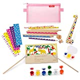 Addjoy Einschulung Geschenk DIY Schulschreibsets Schultag-10xDIY Bleistift /1xDIY Holz Lineal/1x Holzpostkarte /1 Set 6 Farben Malzubehö