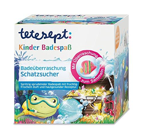 tetesept Kinder Badespaß Badeüberraschung 'Schatzsucher' – Spritzig sprudelnde Badekugel für Kinder - inkl. Sammelfigur und kleiner Badegeschichte – 3 Sprudelkugeln à 140 g
