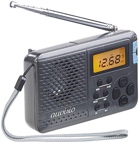 auvisio Kofferradio: Digitaler 12-Band-Weltempfänger FM/MW/KW, mit Wecker & Sleeptimer (Reiseradio)