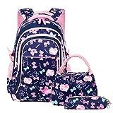 Vbiger Schulranzen Mädchen Schulrucksack Schultasche Rucksack Kinder Daypack 3 Teile Set für Schule und Freizeit