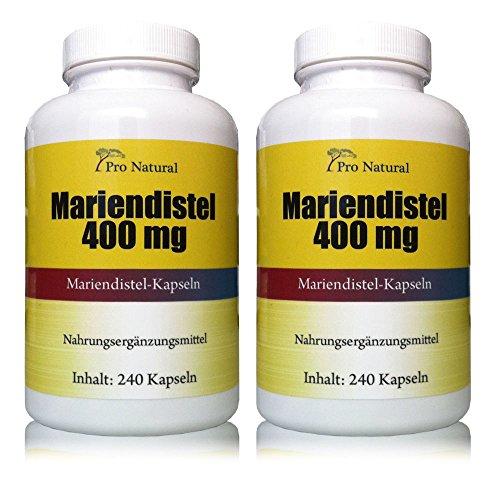 Mariendistel Extrakt 400mg (Pro Kapsel 80% Silymarin 320mg) Detox durch Silymarin 480 Kapseln 2 Packungen a 240 Kapseln