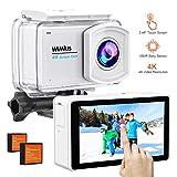 WiMiUS 4K Action Kamera Touchscreen 2.45 Inch LCD 16MP Touchscreen Cam 30M Unterwasserkameras WiFi Sport Camcorder 170° Weitwinkelobjektiv Helmkamera mit Zubehör-Kit, L3 Silber