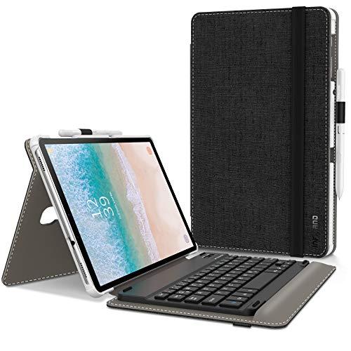 Infiland Samsung Galaxy Tab A 10.5 Tastatur Hülle, Ultradünn leicht Ständer Schutzhülle mit magnetisch abnehmbar Tastatur für Galaxy Tab A 10.5 (T590/T595) 2018 (QWERTZ Tastatur,Schwarz)