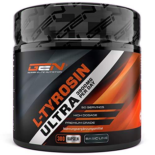 L-Tyrosin Ultra - 300 Kapseln - 3900 mg pro Tagesportion - 50 Portionen - Hochdosiert - Premium Aminosäure - Beliebt bei Sportlern & Bodybuildern - German Elite Nutrition