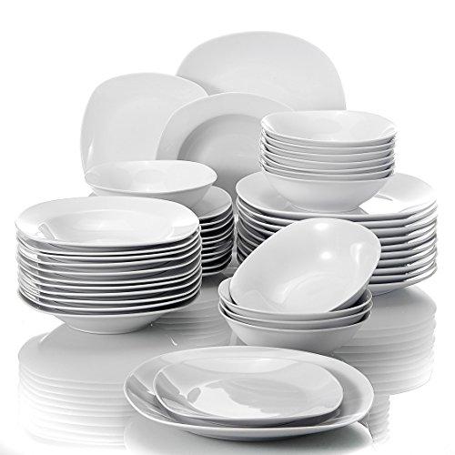 MALACASA, Serie Elisa, 48 TLG. Porzellan Tafelservice Kombiservice Geschirrset, 12 Dessertteller, 12 Suppenteller, 12 Flachteller und 12 Müslischale für 12 Personen