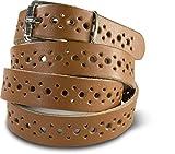 SCAMODA Damengürtel aus Echtleder mit Lochmuster ca.2,0cm breit, echtes Leder - verschiedene Farben und Größen (130/BW115 - Cognac)