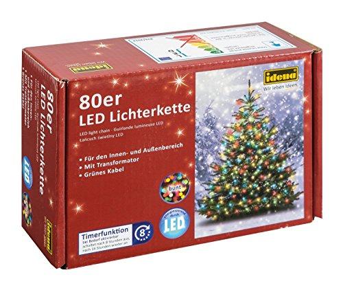 Idena LED Lichterkette 200er, ca. 27,90 m, für innen/außen, warm weiß