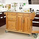 SoBuy Luxus-Küchenwagen aus hochwertigem Bambus mit Edelstahlarbeitsplatte,Kücheninsel,Küchenschrank,B129xT46xH91cm FKW14-N