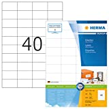 Herma 4461 Universal Etiketten (52,5 x 29,7 mm) weiß, 4.000 Aufkleber, 100 Blatt DIN A4 Premium Papier matt, bedruckbar, selbstklebend