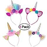 Frcolor Haarreif Einhorn Stirnband mit Unicorn Horn Haarschmuck mit Ohren für Halloween Party, 4er Pack