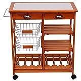 Homcom Servierwagen Rollwagen Küchenwagen Küchentrolley Küchenrollwagen Beistellwagen