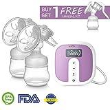 IKARE Elektrische Milchpumpe, Doppel Brustpumpe Massage, Wiederaufladbar und Tragbar, mit Digitalen LCD-Anzeige, Stillen Dual Saugnapf aus Silikon